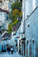 Tourists walking in the street of lower town, Rocamadour, Lot, Midi-Pyrenees, France by Panoramic Images - various sizes