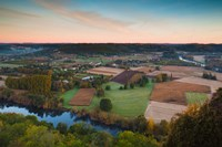Elevated view of the Dordogne River Valley in fog from the Belvedere de la Barre at dawn, Domme, Dordogne, Aquitaine, France by Panoramic Images - various sizes, FulcrumGallery.com brand
