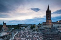 Elevated view of a town with Eglise Monolithe church at dusk, Saint-Emilion, Gironde, Aquitaine, France by Panoramic Images - various sizes