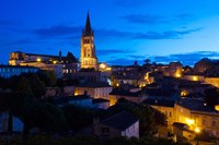 Elevated view of a Town with Eglise Monolithe Church at Dawn, Saint-Emilion, Gironde, Aquitaine, France by Panoramic Images - various sizes
