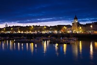 Buildings at the waterfront lit up at dusk, Old Port, La Rochelle, Charente-Maritime, Poitou-Charentes, France by Panoramic Images - various sizes
