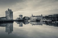 Tour St-Nicholas, Old Port, La Rochelle, Charente-Maritime, Poitou-Charentes, France (black and white) Fine Art Print