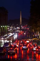 Elevated view of traffic on the road at night viewed from Eglise Madeleine church, Rue Royale, Paris, Ile-de-France, France Fine Art Print