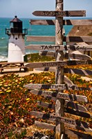 Directional signs on a pole with light house in the background, Point Montara Lighthouse, Montara, California, USA by Panoramic Images - various sizes, FulcrumGallery.com brand