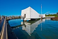 Reflection of a memorial in water, USS Arizona Memorial, Pearl Harbor, Honolulu, Hawaii, USA Fine Art Print