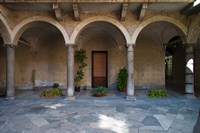 Courtyard of a building, Como, Lombardy, Italy Fine Art Print
