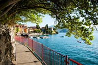 Walkway along the shore of a lake, Varenna, Lake Como, Lombardy, Italy Fine Art Print