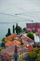 High angle view of buildings in a town at the lakeside, Varenna, Lake Como, Lombardy, Italy by Panoramic Images - various sizes, FulcrumGallery.com brand