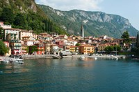 Buildings in a Town at the Waterfront, Varenna, Lake Como, Lombardy, Italy Fine Art Print