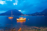 Boats anchored in the Lake Como, Varenna, Lombardy, Italy Fine Art Print