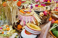 Many of the offerings on cart in front of a temple in Tampaksiring, Bali, Indonesia by Panoramic Images - various sizes