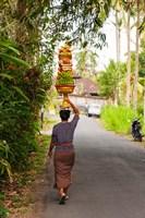 Woman carrying offering to temple, Pejeng Kaja, Tampaksiring, Bali, Indonesia by Panoramic Images - various sizes