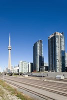 Skyscrapers and Railway yard with CN Tower in the background, Toronto, Ontario, Canada 2013 Fine Art Print