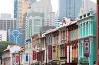 Restored buildings against the modern buildings, Chinatown, Singapore by Panoramic Images - various sizes, FulcrumGallery.com brand