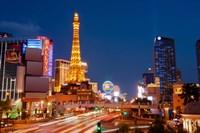 Casinos along the Las Vegas Boulevard at night, Las Vegas, Nevada, USA 2013 Fine Art Print