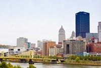 Skyscrapers in a city, Tenth Street Bridge Pittsburgh, Pennsylvania, USA Fine Art Print