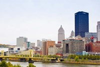 Skyscrapers in a city, Tenth Street Bridge Pittsburgh, Pennsylvania, USA by Panoramic Images - various sizes