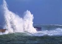 Waves crashing at Lomener harbor, Morbihan, Brittany, France by Panoramic Images - various sizes