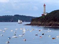 Boats and lighthouse at Phare Du Portzic, Goulet De Brest, Finistere, Brittany, France by Panoramic Images - various sizes