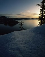 Lake at sunset, Llao Rock, Wizard Island, Crater Lake National Park, Oregon, USA by Panoramic Images - various sizes