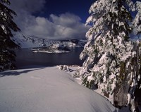 Crater Lake in winter, Wizard Island, Crater Lake National Park, Oregon, USA by Panoramic Images - various sizes