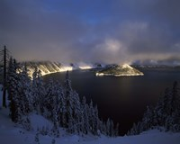 Wizard Island at Crater Lake in winter, Crater Lake National Park, Oregon, USA by Panoramic Images - various sizes
