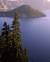 Wizard Island from Rim Village in the Crater Lake, Crater Lake National Park, Oregon, USA by Panoramic Images - various sizes