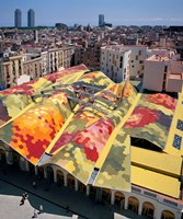 High angle view of Santa Caterina Market with cityscape in the background, Barcelona, Catalonia, Spain Fine Art Print