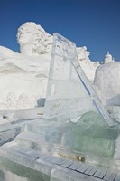 Ice piano by frozen Sun Island Lake at Harbin International Sun Island Snow Sculpture Art Fair, Harbin, China Fine Art Print