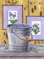 Blueberries And Violets Fine Art Print