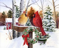 Christmas Cardinals Fine Art Print