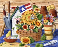 Sunflowers and Flag by Maureen Mccarthy - various sizes