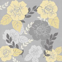 Yellow Roses on Grey I Fine Art Print