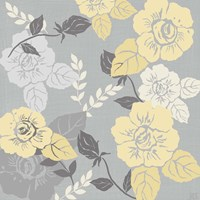 Yellow Roses on Grey II Fine Art Print