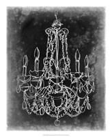 Chalkboard Chandelier Sketch III Fine Art Print