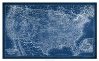 "US Map Blueprint by Vision Studio - 42"" x 26"", FulcrumGallery.com brand"