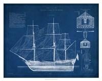 "Antique Ship Blueprint IV by Vision Studio - 30"" x 24"""