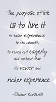 The Purpose of Life is to Live It -Eleanor Roosevelt by Veruca Salt - various sizes