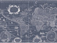 Blueprint World Map Fine Art Print