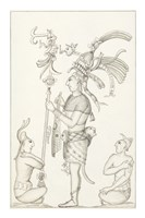 Drawing of stucco relief at the Palace, Maya ruins at Palenque Fine Art Print