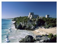 Pyramid on the seashore, El Castillo, Tulum Mayan, Quintana Roo, Mexico Fine Art Print