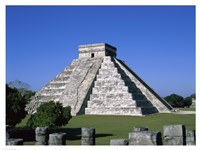 Old ruins of a pyramid,  Chichen Itza Mayan Fine Art Print