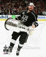Drew Doughty with the Stanley Cup Game 5 of the 2014 Stanley Cup Finals Fine Art Print
