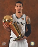 Danny Green with the NBA Championship Trophy Game 5 of the 2014 NBA Finals Fine Art Print