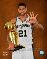 Tim Duncan with the NBA Championship Trophy Game 5 of the 2014 NBA Finals Fine Art Print