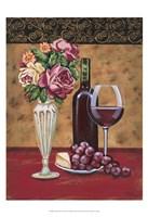 Vintage Flowers & Wine I Fine Art Print