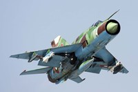 MiG-21bis taking off armed with AA-8 Aphid air-to-air missiles Fine Art Print
