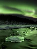 Aurora Borealis reflects off the Tennevik River, Troms County, Norway Fine Art Print