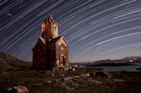 Star trails above Dzordza church, Iran Fine Art Print