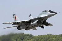 A Bulgarian Air Force MiG-29UB taking off from Graf Ignatievo Air Base Fine Art Print